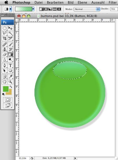 Ein grüner Button in Photoshop
